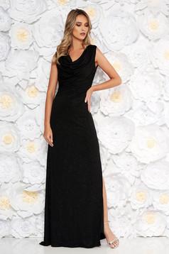 Rochie neagra de ocazie cu un croi mulat din material transparent cu aplicatii cu sclipici captusita pe interior