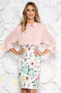 Lightpink elegant daily midi pencil dress with 3/4 sleeves with floral prints