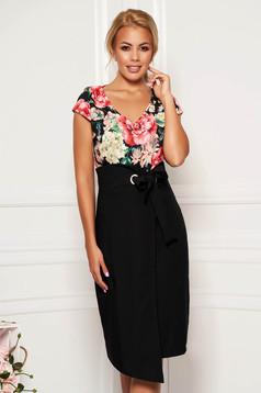 Black elegant daily pencil dress with v-neckline slightly elastic fabric