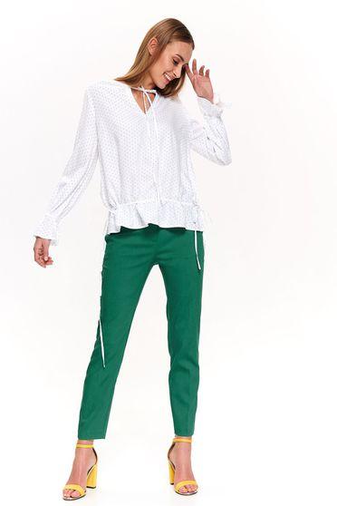 Bluza dama Top Secret alba casual cu croi larg cu maneca lunga cu decolteu in v din material vaporos