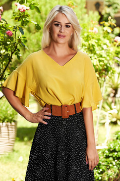 Top Secret yellow casual flared women`s blouse bell sleeves airy fabric