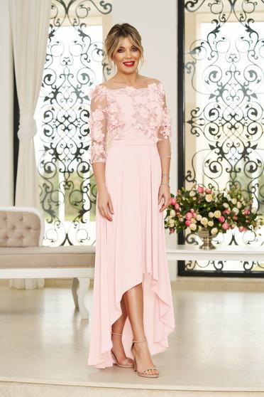 Rochie StarShinerS roz deschis de ocazie asimetrica in clos accesorizata cu cordon