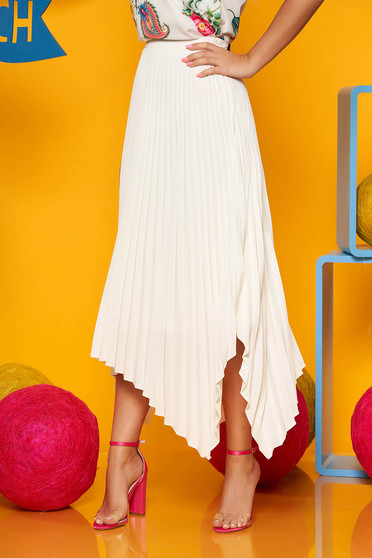 Fusta Top Secret crem plisata eleganta asimetrica in clos cu talie inalta