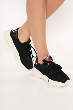 Black sneakers with lace casual