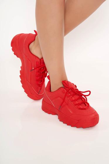 Pantofi sport rosu casual cu siret