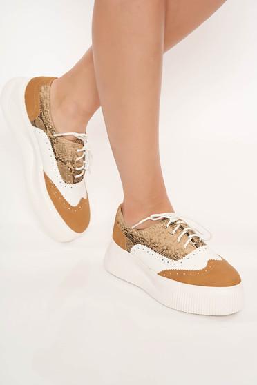 Pantofi cappuccino casual din piele ecologica cu siret