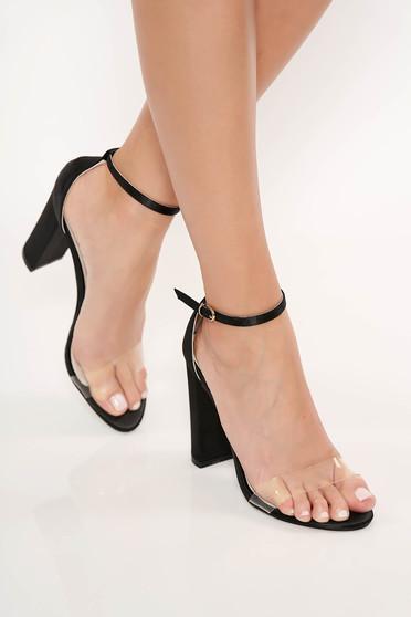 Sandale negre elegante din piele ecologica cu barete subtiri cu toc gros
