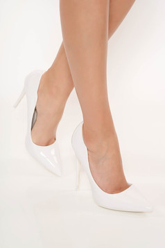 White with high heels from ecological varnished leather slightly pointed toe tip