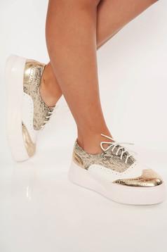 Pantofi maro casual cu siret din piele ecologica