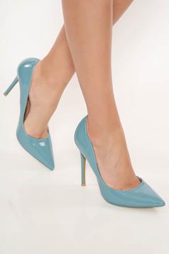 Pantofi stiletto albastru elegant cu toc inalt din piele ecologica cu varful usor ascutit