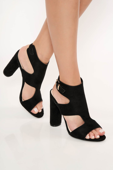 Sandale negre elegante cu toc inalt gros din piele ecologica