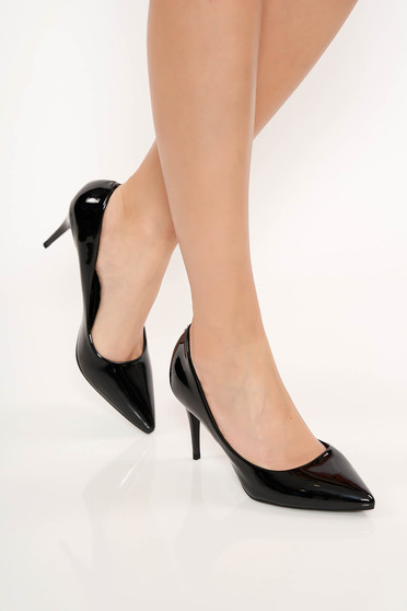 Pantofi negru elegant din piele ecologica lacuita cu toc inalt si varful ascutit
