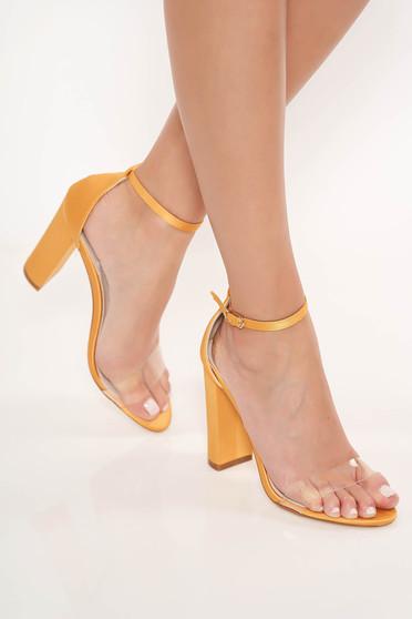 Sandale mustarii elegante din piele ecologica cu barete subtiri cu toc gros