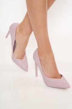 Pantofi lila eleganti din piele ecologica cu toc inalt si varful usor ascutit