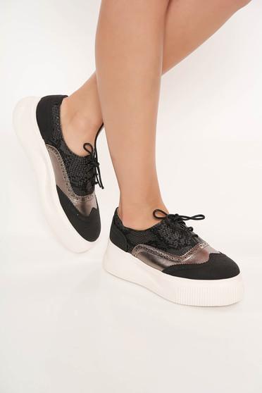 Pantofi sport negru casual din piele ecologica cu siret