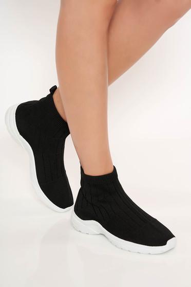 Pantofi sport negru casual tip soseta cu talpa joasa din cauciuc