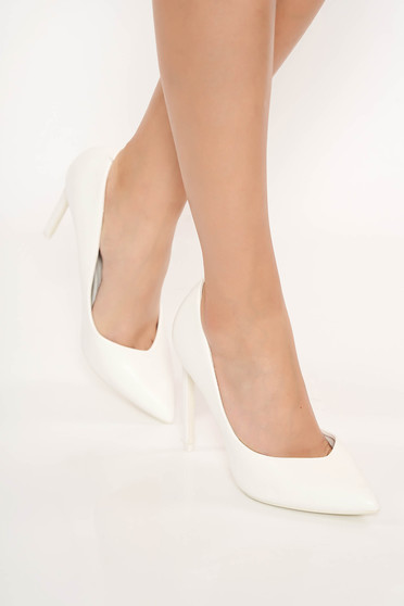 Pantofi alb eleganti din piele ecologica cu toc inalt si varful usor ascutit