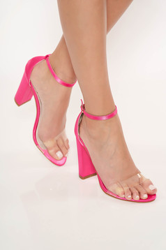Fuchsia elegant sandals from ecological leather with thin straps chunky heel