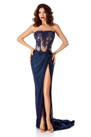 Rochiealbastra-inchis de ocazie cu corset din dantela si fusta din lurex