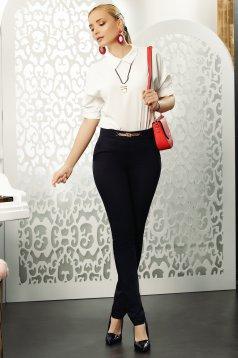 Pantaloni Fofy negri office conici din bumbac usor elastic cu accesoriu metalic