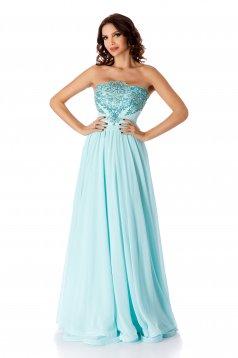 Rochie albastru-deschis de ocazie lunga din voal in clos fara maneci cu aplicatii din dantela