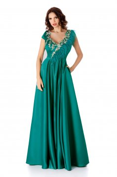Turquoise dress occasional cloche with a cleavage long from satin