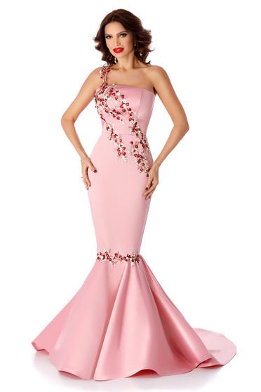 Rochie roz tip sirena fara maneci de ocazie cu aplicatii de dantela