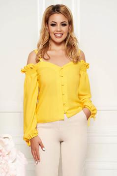 Bluza dama StarShinerS galbena cu decolteu in v cu maneci lungi din material vaporos