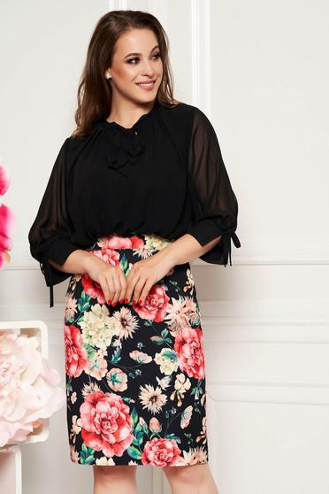 Rochie neagra eleganta de zi midi tip creion cu maneci trei-sferturi cu imprimeuri florale
