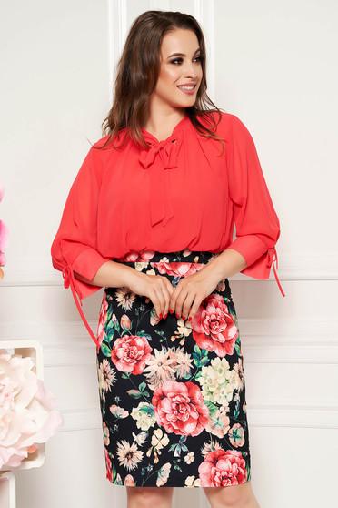 Rochie corai eleganta de zi midi tip creion cu maneci trei-sferturi cu imprimeuri florale