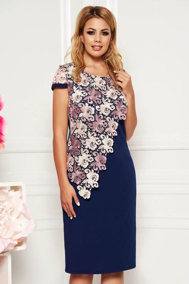 Rochie albastra-inchis eleganta midi cu un croi drept cu maneci scurte suprapunere cu dantela