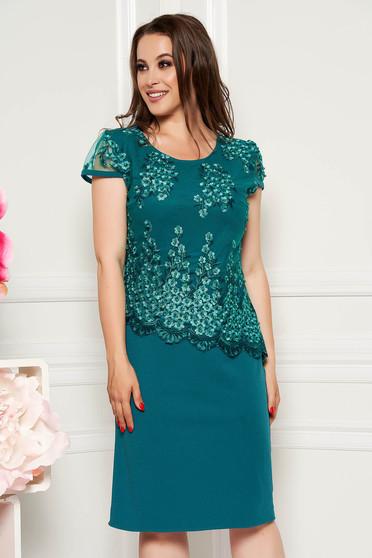 Rochie verde petrol eleganta midi cu un croi drept cu maneci scurte din material subtire suprapunere cu dantela