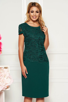 Rochie verde-inchis midi eleganta cu un croi drept cu maneca scurta din material subtire suprapunere cu dantela