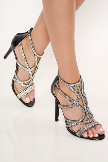 Sandale negre de ocazie cu toc inalt cu aplicatii cu pietre strass se inchide cu fermoar