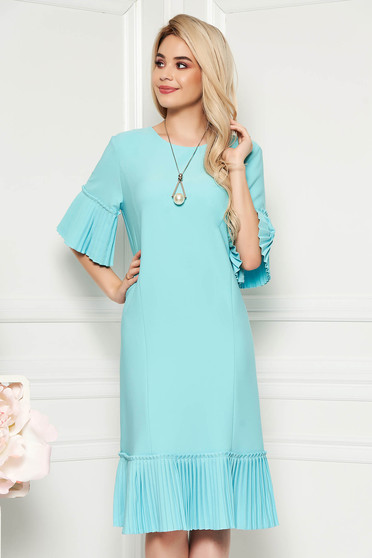 Rochie mint eleganta midi cu un croi drept din stofa usor elastica