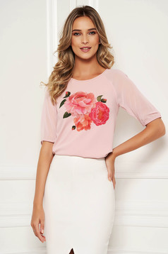 Bluza dama StarShinerS roz prafuit eleganta din material elastic cu imprimeu floral si maneci trei-sferturi din voal