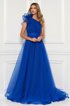 Ana Radu blue luxurious dress with inside lining accessorized with tied waistband one shoulder