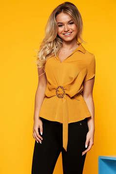 Mustard women`s blouse casual with v-neckline short sleeves