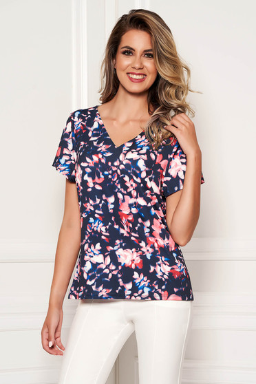 Bluza dama SunShine albastru-inchis casual cu maneca scurta cu decolteu in v si imprimeuri florale