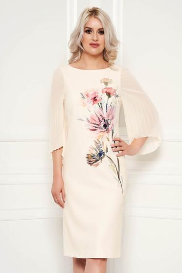 Rochie crem eleganta de ocazie midi cu croi drept si imprimeuri florale cu maneci din voal
