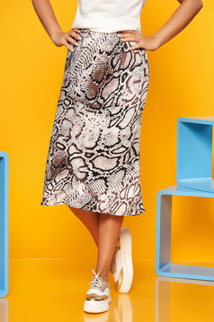 Fusta SunShine maro cu animal print casual midi din material subtire cu talie inalta