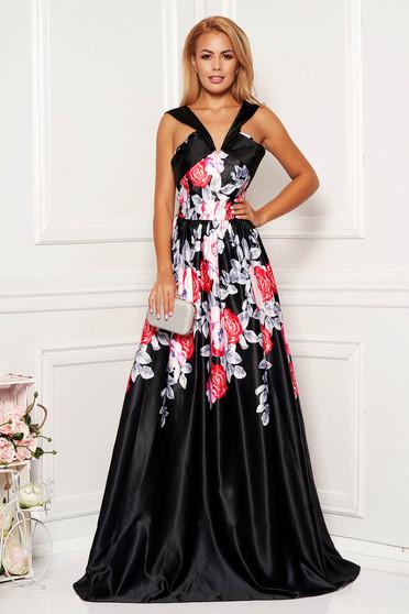Rochie Artista neagra lunga de seara cu decolteu adanc si imprimeuri florale