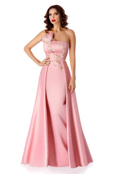 Rochie rosa de ocazie tip sirena din tafta cu umeri goi detalii handmade cu trena fixa