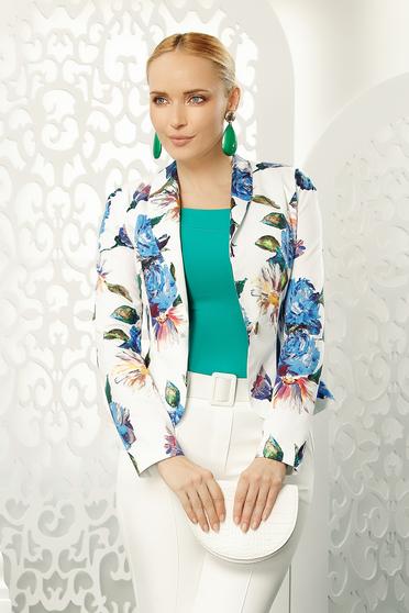 Sacou Fofy albastru office tip blazer cambrat cu maneca lunga din bumbac usor elastic cu imprimeu floral
