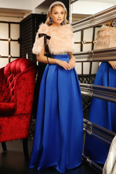 Rochie Fofy albastra de ocazie in clos cu decolteu in v din material satinat cu aplicatii cu paiete
