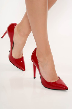Red elegant stiletto shoes natural leather with high heels