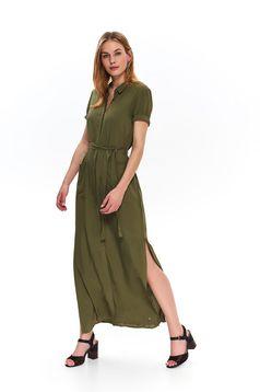 Rochie Top Secret verde de zi lunga in clos accesorizata cu cordon
