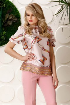 Bluza dama PrettyGirl roz prafuit eleganta cu croi larg cu maneca scurta din material satinat cu imprimeuri grafice