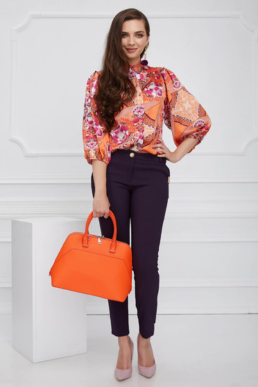 Camasa dama PrettyGirl portocalie eleganta cu croi larg cu maneca 3/4 din material satinat