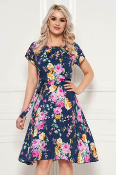 Darkblue daily midi cloche dress thin fabric with floral prints accessorized with tied waistband